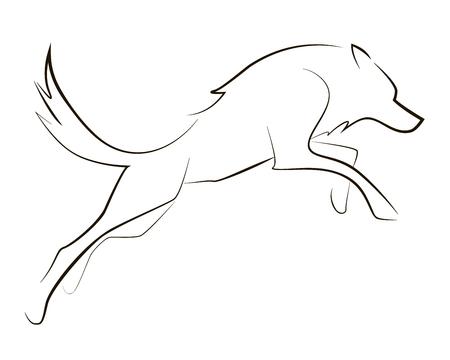 Esecuzione di lupo di linea nera su sfondo bianco. Grafica vettoriale. Vettoriali