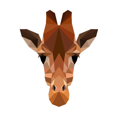 Vector polygonal giraffe isolated on white. Low poly cat illustration. Color vector simple animal predator image. Vettoriali