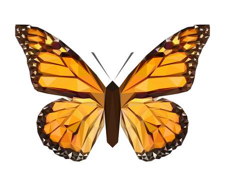 Mariposa poligonal de vector. Ilustración de insectos de baja poli. Imagen animal de color triángulo. Ilustración de vector