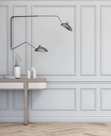 3d interior design simple scene. 3d modern scandinavian interior. 3d render studio.