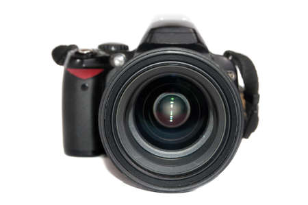 Black digital camera isolated on white background photo