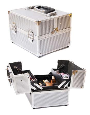 metall: Metallic makeup case. Two plans, isolating on white.