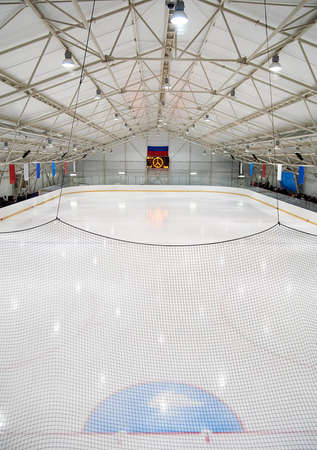 An indoor hockey rink in a community centre