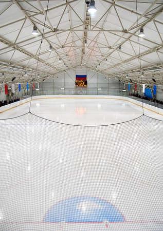 speed skating: An indoor hockey rink in a community centre Editorial