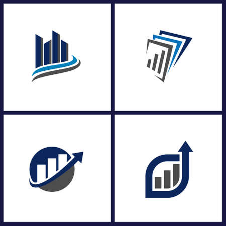 business consulting logo design and accounting finance logo design graphic curve up