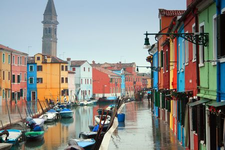 The bright pastel-coloured houses on Burano Island in the north of Venice's lagoon, Italy Stock Photo - 6268648