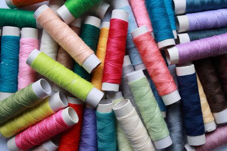 Cotton threads in a large assortment of colors, suitable for a wide range of sewing or embroidery projects Stock Photo
