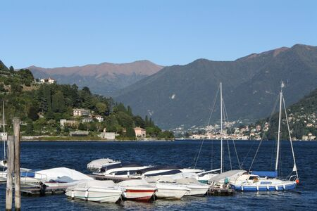The little harbour in Cernobbio, a beautiful town stretched out along Como lake, in the North of Italy