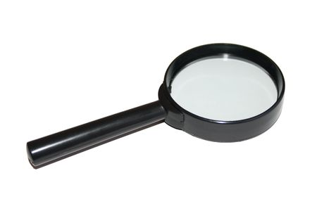 A black magnifier isolated on a white background