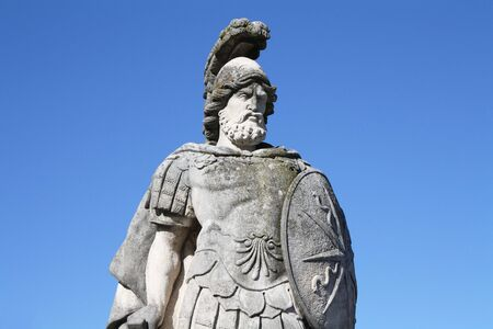 A warrior statue in Villa Olmos gardens, Como, Italy Stock Photo