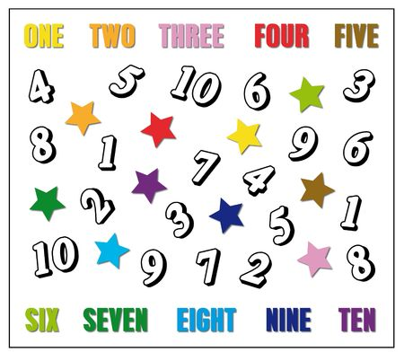 Colour the numbers with the suggested colours. I.E. colour numbers 1 with yellow, numbers 2 with orange and so on Stock Photo - 6341745