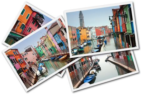 Burano Island, Venice, Italy - December 30, 2009 - A collage made with some pictures of Burano Island during the days of high water Stock Photo - 6887658