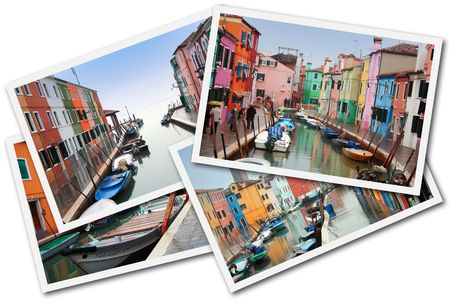 Burano Island, Venice, Italy - December 30, 2009 - A collage made with some pictures of Burano Island during the days of high water Editorial