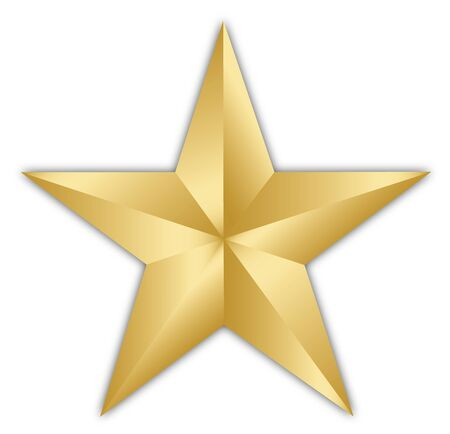 A bright golden star isolated over a white background