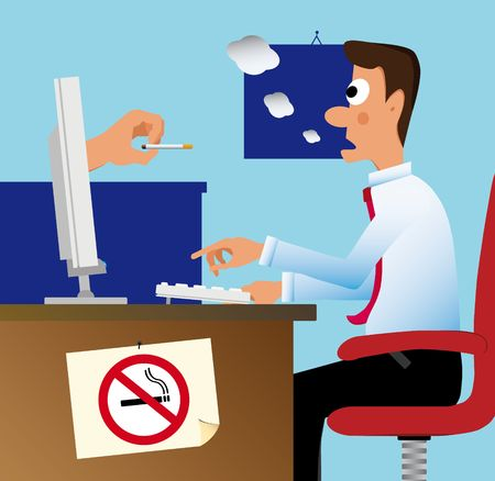 A hand comes out from the pc monitor and remove the cigarette from a surprised employee mouth
