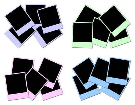 4 sets of colored frames ready to insert photos and create photo collages Stock Photo