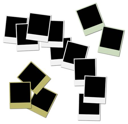 3 sets of colored frames ready to insert photos and create photo collages Stock Photo