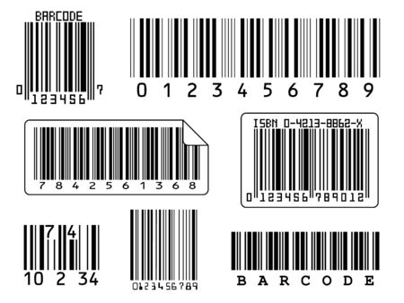 7 barcodes isolated on a white background Stock Photo
