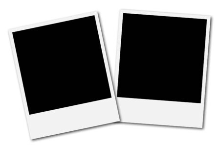 latch: Two blank polaroid frames ready to insert photos and create a photo collage Stock Photo