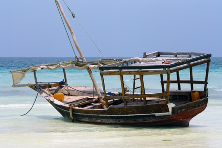 Boat on Nungwi white-sand beach, Zanzibar