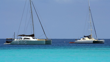Two catamarans in Zanzibar on a sunny day Stock Photo