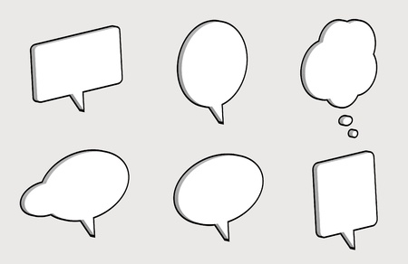 3D comic speech bubbles isolated on a light grey background Stock Photo