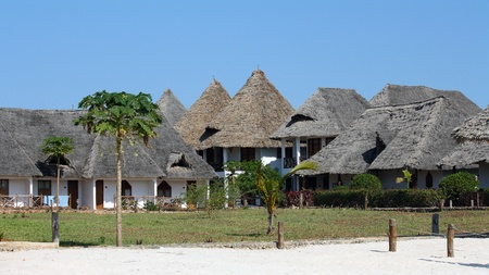 architecture bungalow: Bungalow resort in Zanzibar on a sunny day