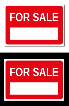 Real estate red and white for sale signboards