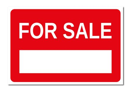 Real estate red and white for sale signboard Stock Photo
