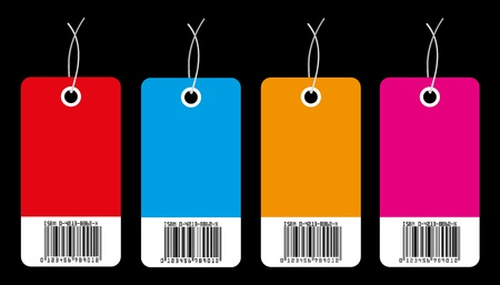purchasing: Four commercial labels isolated on a black background