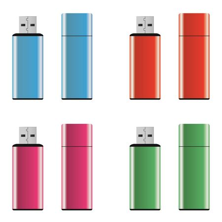 Colored and isolated USB pen drives Stock Photo