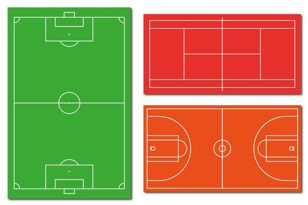plan de accion: Campo de fútbol de tenis de campo y cancha de baloncesto
