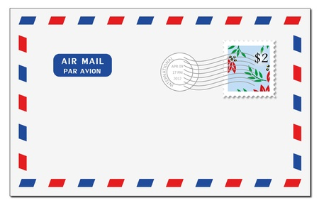 A shady air mail envelope on a white background