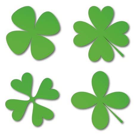 Four green cloverleafs on a white background