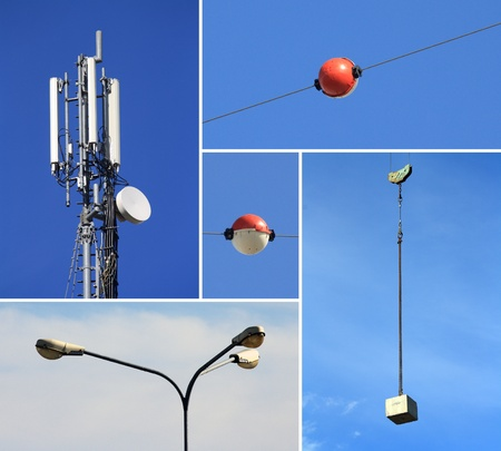Collage of telecommunications electricity and building industries Stock Photo - 13296290