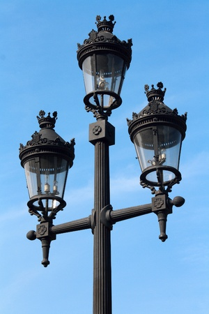 A street lamp on blue sky background in Barcelona, Spain