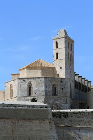 The awesome Cathedral de Santa Maria in Ibiza, Spain Stock Photo
