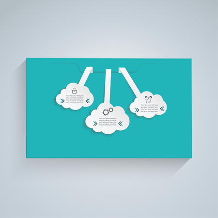 green envelope with three white clouds Vector
