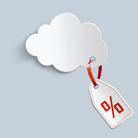 elebration: white cloud with the price of red tape Illustration