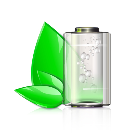 electronic components: ecological battery with three leaves on a white background