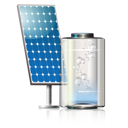 electricity supply: solar panels on the front in blue and creative battery with bubbles Illustration