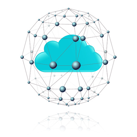 communications: communications sector in the form of spheres of grid and cloud blue inside Illustration