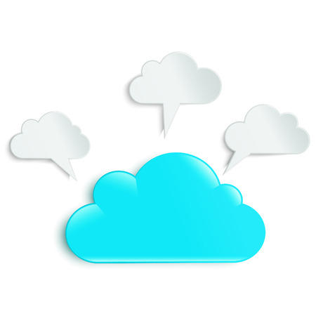 workpiece: clouds as infographics in the amount of four pieces with a central turquoise Illustration