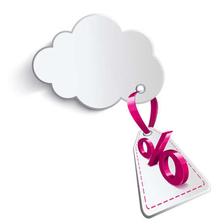 confirms: Cloud with pink ribbon and an adjoining price tag on a white background with a percent sign