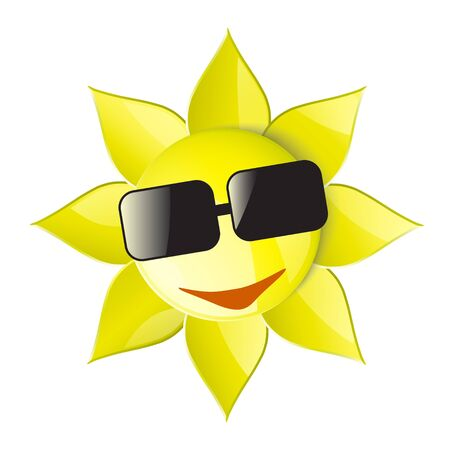 smiling sun: smiling sun wearing sunglasses on a white background