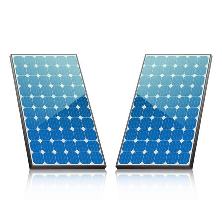 panels: two solar panels in blue with reflection