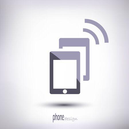 line phone symbol on a gray background with shadow Illusztráció