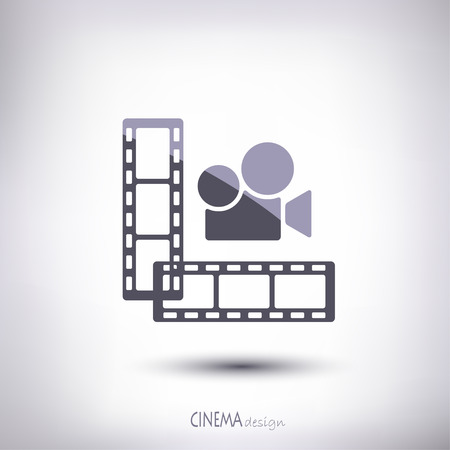 cinematographer: Linear film in an amount of two pieces with a camera gray color on the gray background Illustration