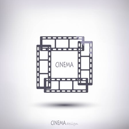 cinematographer: linear gray film in an amount of four pieces form a square on a gray background Illustration