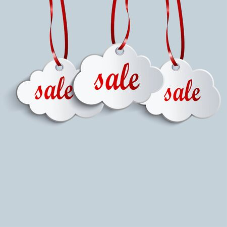 feedback label: three clouds of white ribbons and sale symbol